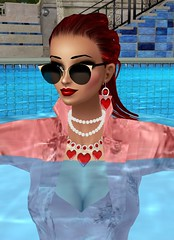 Portrait in Pink 4 (SoakinJo) Tags: imvu wetlook wetclothes soakinjo wetsuit clothed pool