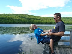 Father and Son (di_the_huntress) Tags: family summer lake fun dad child joy picmonkey:app=editor