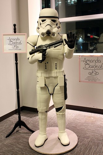 It's a 6' tall Stormtrooper.  Made of cake.  No, really. - Imgur