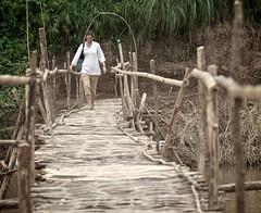 Ok, allons y (Arkinien) Tags: wood bridge tree water forest river asia day mud bamboo deck jungle tropical railing muddy lao luangprabang namkhanriver