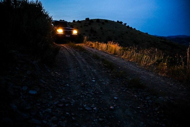 summer night truck evening august headlights adventure explore toyota tacoma twotrack