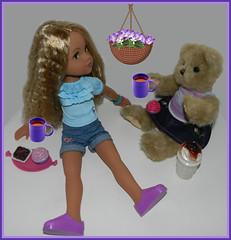 Tea For Two (marilyntunaitis) Tags: toys dolls tea 7 plush teddybear stuffedanimals 16 the365toyproject 30daysoneobject hearts4hearts lauryce