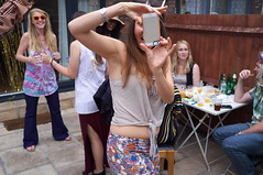 Marion (Gary Kinsman) Tags: party london houseparty photo action candid excited bbq hackney unposed fancydress clapton e5 iphone 2014 fujix100 fujifilmfinepixx100