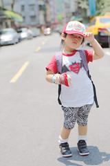 Zorie looks like a cool Hip Hop idol. haha (Zorie Huang) Tags: morning light portrait baby sunlight cute girl asian kid child innocent taiwan snap nike cap zebra batman lovely taiwanese twoyearold streetsnap nikesneakers zorie hiphopkid kidinacap