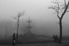 Mist in the Spring (James Hodgson Photography) Tags: mist fountain fog dark spring brighton cloudy steine lonely seafront