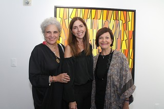 Maria Di Mase, Hilda Welcker and Liana Perez, Art Circuits Publisher at Six Masters Opening Liana Perez