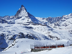 View from The Gornergrat bahn against The massiv Matterhorn, The most famous peak in Europe!