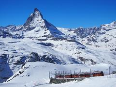 View from The Gornergrat bahn against The massiv Matterhorn, The most famous peak in Europe!
