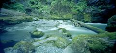 Flowing quickly by (that analogue guy) Tags: diy washington holga kodak panoramic pinhole 400 cascades portra c41 boulderriver 120wpc greenandblueinharmony