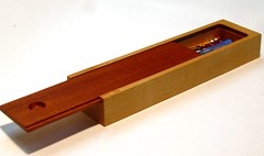 Pencil Box in Maple and Mahogany (Smile Moon) Tags: wood school moon smile pencils back maple hand box handmade homemade etsy sliding woodworking lid mahogany hardwood woodworker crafted woodworks smilemoon