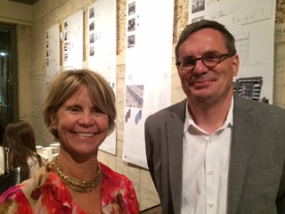 Christine Rupp, director of the Coral Gables Museum, with Jason Chandler, associate professor of architecture at FIU,  at the opening of a series of exhibitions at the mus