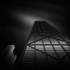 FLUID TIME III - Two Worlds (Julia-Anna Gospodarou) Tags: longexposure blackandwhite chicago architecture fineart hancock hancocktower manfrotto architecturalphotography canontse24mm canon5dmk3 photographydrawing tiltshift blackandwhitefineartphotography formatthitech juliaannagospodarou envisionography prostopirnd artistjuliaannagospodarouinfo fluidtimeiii