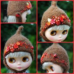 The Folklore Tonttu Helmet: Lady In Red (Euro_Trash) Tags: red brown net handknit website ladybird embroidered embellished eurotrash handfelted tonttuhelmet handmadeforblythe