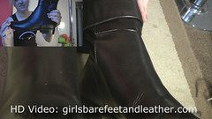 girl overknee leather boots tight pants (girl leather pants) Tags: girl leather high pants boots heels knee overknee