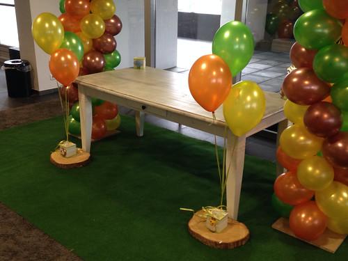 Tafeldecoratie 3ballonnen Geel, Grasgroen, Oranje