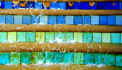 Colourful Fountain in Sheffield (Tony Worrall) Tags: city colour geometric wet water fountain colors lines photo place squares sheffield yorkshire shapes images drip tiles blocks colourful splash cascade damp yorks tiled blocky ©2014tonyworrall