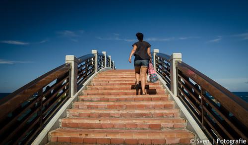 Walking over Sansiantai Bridge