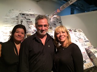 Isabel Tordo with gallery owner Ignacio Irazoqui and Mariza Gomez at their gallery opening in the Wynwood  arts building