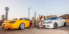 Girls and their cars. (Kerry G. Photo) Tags: rooftop skyline dallas s2000 cargirls rsx rpf1 spayellow vskf workwheels frostwhite