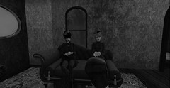 Madam and I speculating on the young man's manners... (Allie Carpathia) Tags: victorian brothel autumn friends secondlife darkradiance