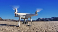 DJI Phantom 4 about to take off (PeterThoeny) Tags: deathvally california drone quadcopter rotorcraft camera djiphantom dji phantom day clear desert racetrackplaya lakebed playa hdr 1xp raw nex6 selp1650 photomatix outdoor qualityhdr qualityhdrphotography landscape texture drylakebed djiphantom4 phantom4 fav100