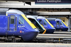 Lined up, point West.... (stavioni) Tags: first great western railway rail diesel train class43 hst power car inter city intercity 125 high speed 43145 43041 43168 43003 london paddington fgw gwr