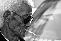 smoke (lintong - xi'an, china) (bloodybee) Tags: 365project lintong xian shaanxi china asia travel street portrait old elderly man people face glasses smoke cigarette tobacco bw wrinkles hair candid
