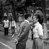 In the mood for love (Go-tea 郭天) Tags: canon eos 100d 50mm bw bnw qingdaoshi shandongsheng chine cn black blackwhite blackandwhithe white asia china urban city street qingdao people outside outdoor couple bride groom love kiss tie together posing picture photographer chinese asian young man women shirt lovely lovers beauty beautiful cute moment time trees nature portrait candide autumn leaves dress skirt