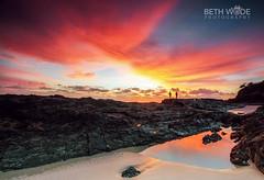 Snapper Sunrise (Beth Wode Photography) Tags: sunrise dawn morning sunriseclouds reflections sand beach fishermen snapperrocks goldcoast seascape pinksky beth wode bethwode