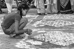 58 (Arvind Balaraman) Tags: adornment art asia asian bharathanatyam dance drama heritage chennai classic classical dancer exponent expression eyes face female girl india indian music mylapore natyam one performer portrait sari traditional woman cultural saree tamilnadu jan january 2011 sundaramfiancekapaleeswarar temple kolam contest tamil scripture vazhkaithunainalam thiruvalluvar thirukkural kural58