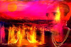 LONGING TO LIVE. (Viktor Manuel 990.) Tags: surrealism brightcolours digitalart artedigital woman mujer landscape paisaje night noche fountain fuente sky cielo moon quertaro mxico victormanuelgmezg