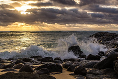 Kauai Sunrise 2015-1 (Kaua'i Dreams) Tags: ocean waves pacific sunrise sun clouds water rocks crashingwaves hawaii kauai lavarocks beach sand explore explored