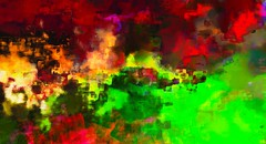 Meanwhile in ... (Bamboo Barnes - Artist.Com) Tags: texture vivid red green yellow fire painting digitalart landscape peace bamboobarnes light shadow blue night abstract bomb war