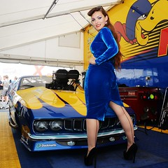 Holly_9667 (Fast an' Bulbous) Tags: promodified plymouth cuda v8 supercharged drag strip race track car vehicle automobile girl woman blur velvet dress wiggle long brunette hair hot sexy chick babe high heels stiletto shoes silk seamed stockings model pinup people classic oldtimer muscle