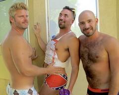 IMG_0229 (danimaniacs) Tags: party shirtless man guy hot sexy hunk bathingsuit trunks speedo bulge smile beard scruff bald hairy