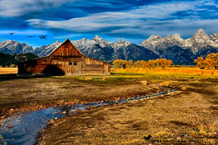 ENCOUNTERS (Aspenbreeze) Tags: wyoming mormonbarn grandtetons barn mountains stream brook wyominglandscape landscape peaks snowcappedpeaks antelopeflats rural farm outdoors nature bevzuerlein aspenbreeze moonandbackphotography