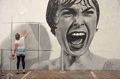 Psycho Street Art by Artist bkfoxx, Found in New York City, USA (marcfoster2) Tags: newyorkcity newyork nyc ny artsy artwork art artistic artist arte painting paint illustration unitedstates usa america american streetart street redbubble