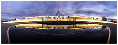 Parliament House, Canberra (JakaPH Photography) Tags: parliament house canberra australia act australiancapitalterritory capital city cityscape sunset dusk clouds cloudy colour color panorama light reflection