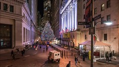 NYSE Christmas Tree Time Lapse (Michael.Lee.Pics.NYC) Tags: newyork nyse newyorkstockexchange christmas holiday wallstreet broadstreet nassaustreet federalhall night video timelapse architecture cityscape pedestrians motion movement sony a7rm2 zeissloxia21mmf28