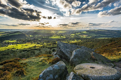 View From Curbar Edge... (johngregory250666) Tags: uk derbyshire rural nature british countryside camera lens green yellow orange stone nikon nikkor hiking walking lines clouds sky blue moss lichen out brook glow grass imagesofengland amazing sunlight water light sun outdoor grassland field landscape hill trees plant serene moors ridge great national park mountain moor moorland dale new mountainside august d5200 rock formation rays edge heather blooming flower tor higger world people pass sunrise burbage outside cloud temperature sunset skyline