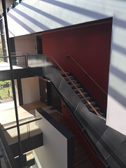 The steel stair connecting the two museum levels