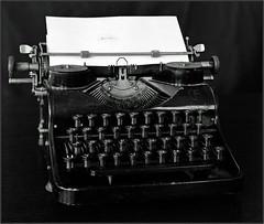 """The end"". Fujinar 180 4,5 (Yuriy Sanin) Tags: yuriy sanin fujinar18045 acros tachihara 4x5 5x4 печатная машинка typewriter бумага лист paper blackandwhite bw юрийсанин чб чернобелаяфотография большойформат largeformat"