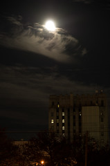 Moon in Clouds (ramseybuckeye) Tags: full moon super pentax art night lima ohio cook tower bank one downtown clouds