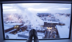 Stay Warm (Keiran Foster) Tags: warm winter socks self life wideangle lens 14mm 14 snow sky cloud steam clouds view window lifestyle shot calgary yyc alberta exploreablerta live cozy indoors