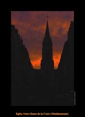 Eglise Notre Dame de la Croix (Mnilmontant) (cowsandgirl71) Tags: panasonic paris fz200 france eglise architecture ombre couleur orange bleu ciel nuage soleil lumire lumix lever