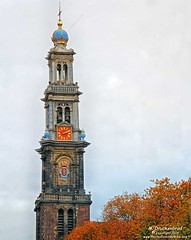 Bell tower of the Westerkerk in Amsterdam, The Netherlands (PhotosToArtByMike) Tags: westerkerk amsterdam netherlands westernchurch dutch prinsengrachtcanal holland belltower