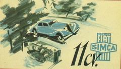 Simca-Fiat 11CV (1937) (andreboeni) Tags: classic car automobile cars automobiles voitures autos automobili classique voiture retro auto oldtimer klassik classico classica publicity advert advertissement simca fiat simcafiat 11cv