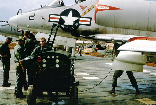 VMA 225 Ground Maintenance Marines getting A4C Skyhawk Aircraft ready for first combat missions at Chu Lai, Viet Nam; June 1, 1965.