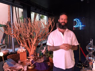 Artist Jason Harler with his installation at the Faena Project gallery.