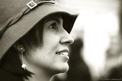 Portrait (Natali Antonovich) Tags: portrait monochrome sweetbrussels brussels mood stare smile profile hat hats hatisalwaysfashionable winter